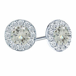 10k White Gold 2 Ct Round Cut Moissanite Butterfly Back Halo Stud Earrings