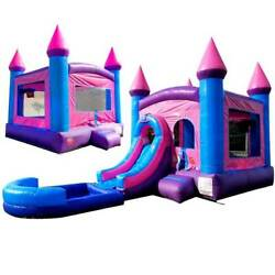 Pogo Premium Inflatables - Pink Bounce House And Pink Water Slide Combo And Blowers