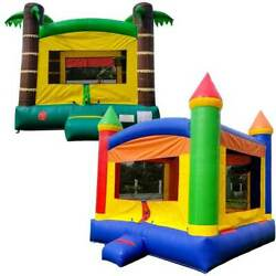 Pogo Kids Rainbow And Tropical Inflatable Bounce House Castles With 2 Free Blowers