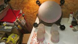 Antique Brass Light Fixture Center Dome And 4 Drop Shades Parts