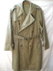 Wwii Era Us Army Officer's Field Overcoat Or Trench Coat W/belt - Sz 42r - Nice