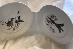 """Ll Bean 'flying Pheasant' And """"green Winged Teal"""" Plates Hand Colored 10.25"""