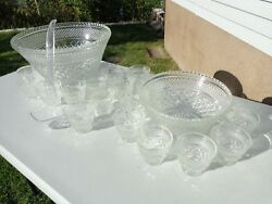 Vintage Anchor Hocking Wexford 21 Piece Double Punch Bowl Set