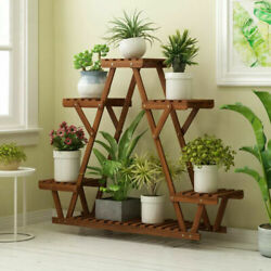 Wood Plant Stand Indoor Outdoor Carbonized Triangle 6 Tiered Corner Plant Rack