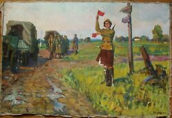 Russian Ukrainian Soviet Oil Painting Military Road Girl Soldier Army Ww2