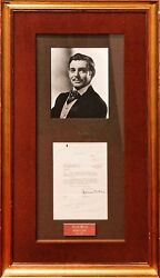 Clark Gablerare Autographed Letter And Photo Display-gone With The Windcoa