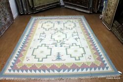 Close Out Sale Southwestern Navajo Kilim 9and039x12and039 Handmade Blue Beige Pm75