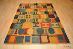 Southwestern Wool Kilim Area Rug 5and039 X 7and039 Handmade Red And Blue Caucasian Style