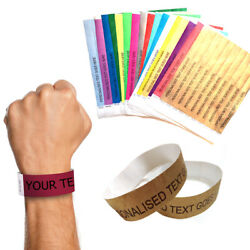 16 Personalised Paper 25mm Wristbands Custom Tyvek Party Event Entrance Tickets