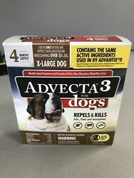 Advecta 3 Flea and Tick Treatment XL Dogs Over 55 Lbs 4 Month Supply K9 Advantix