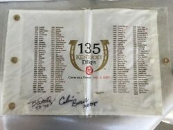 135th Kentucky Derby Double Autographed Golf Pin Flag Calvin Borrel And D.woolley