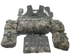 Us Military Acu Flc Tact Vest+waist Bag+2 Canteen And 2 Ifak Pouch+6