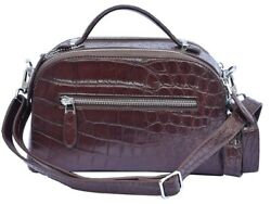Perfect Design Crater Brown Precise Crocodile Belly Leather Ladies New Hand Bag $599.99