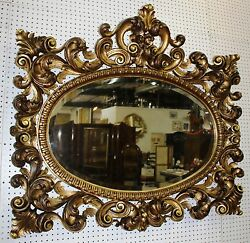 Antique Country French Hand Gold Gilded Pierced Carved Beveled Mirror Circa 1870