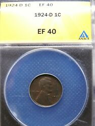1924-d 1c Lincoln Wheat Cent Penny Anacs Ef40 Original Brown