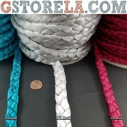 3 Strand Braid Satin Non-stretch String Cord - Silver Teal Pink - Whole Rolls