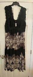 NWT Soma Artisan Magnificent Gown Black Design  & Lace Size XL