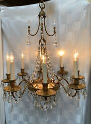 Antique Maison Jansen French Crystal Beaded Lit Basket Chandelier 2 Available