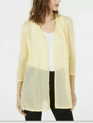 Alfani Womens Large 34 Sleeve Illusion Stripe Open Front Cardigan Yellow $79