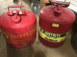 Pair Of Safety Gas Cans Vintage Eagle 5 Gal And Justrite 5 Gal Free Shipping