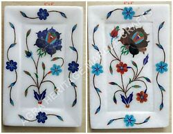 6x4 Marble White Serving Tray Floral Marquetry Multi Inlay Kitchen Decor E1375