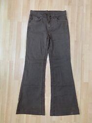 7 For All Mankind Women's Mocha Brown Denim Wide Flare Jeans Size 30