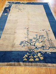 Antique Rug Art Deco Peking Chines Rug 6and039x9and039 Estate Sale Rug Gray Blue Color