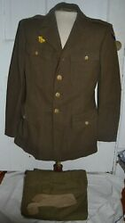 Ww2 Army Air Corps Enlisted Mans 4 Pocket Jacket Large Size 40r W/ Pants 33x33