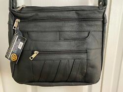 Roma Leathers RIGHT or LEFT Lock amp; Key Concealed Carry SOFT Crossbody BLACK $79.00