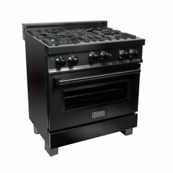 Zline 30 In Professional 40 Cu Ft 4 Gas On Gas Range In Black Stainless Rgb-30