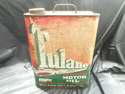 Rare Vintage 2 Gallon Tulane Car Graphics Motor Oil Gas Station Advertising Can