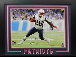 Framed Sony Michel Signed 16x20 Coa Patriots Autographed