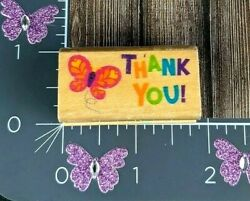 Thank You Butterfly Rubber Stamp Wooden Mounted