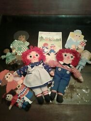 Raggedy Ann Cloth Doll And Cardbook Set Ann Andy Uncle Clem Belindy Henny