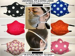 Face Mask Cover - New Designs! w Filter Pocket + 3 NEW Filters (MERV8) included $10.99