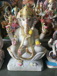 Marble Lord Ganesh Statue Handmade Religious Blessing Gift Temple Decor E1431