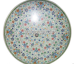 36 Round White Marble Dining Table Multi Stone Inlay Mosaic Special Home Decor