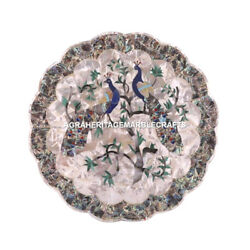 12 Designer Marble Plate Peacock Art With Pauashell Inlaid Occasion Decor M079