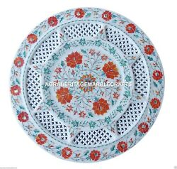Exclusive Marble Round Decorative Plate Hakik Inlay Filligree Arts Gifts H4537