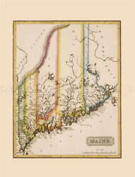 116076 Map Antique Lucas 1814 General Atlas Maine Old Decor Laminated Poster De