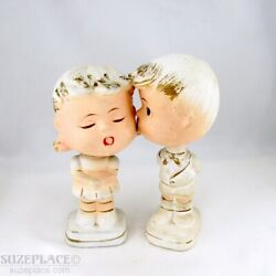 Vintage Bisque Kissing Boy And Girl Nodders Bobbleheads Pair Super Cute
