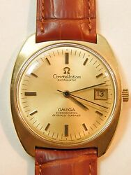 Gold 14 Kt Mans Vintage Watch Omega Constellation Automatic Chronometer
