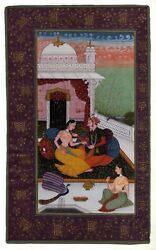 Mughal Period Love Scene Royal Mughal King And Queen Handmade Miniature Painting
