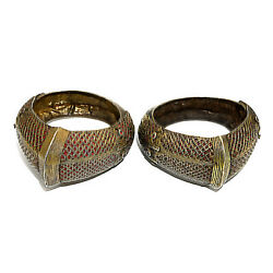 2823 Antique Rare Indonesian Bangles, Silver Gold Plated With Rubies 19th C.