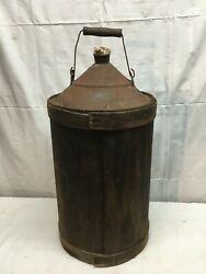 Antique American Can Wood Jacketed Kerosene Oil Can Early Farm Barn Find