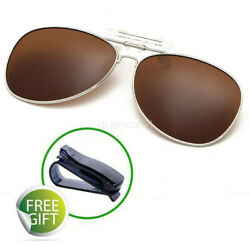 Polarized UV400 Sunglasses Flip-Up Clip On Glasses Night Vision Driving Goggle