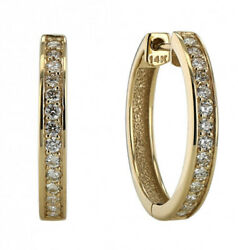 1.40ct Natural Round Diamond 14k Solid Yellow Gold Hoops Snap Closure Earring