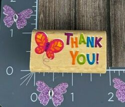 Thank You Butterfly Rubber Stamp Wooden Mounted Spring Flying