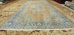 Antique 1930-1940and039s Distressed Wool Pile Peach Dye Oushak Area Rug 5and03910 X 9and039