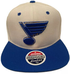 Zephyr Nhl St. Louis Blues Z11 Ivory Flat Bill Snapback Hat New With Tags